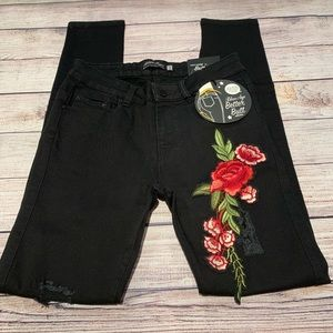 Blue Age Jeans - Blue Age Black Skinny Jeans with Flowers